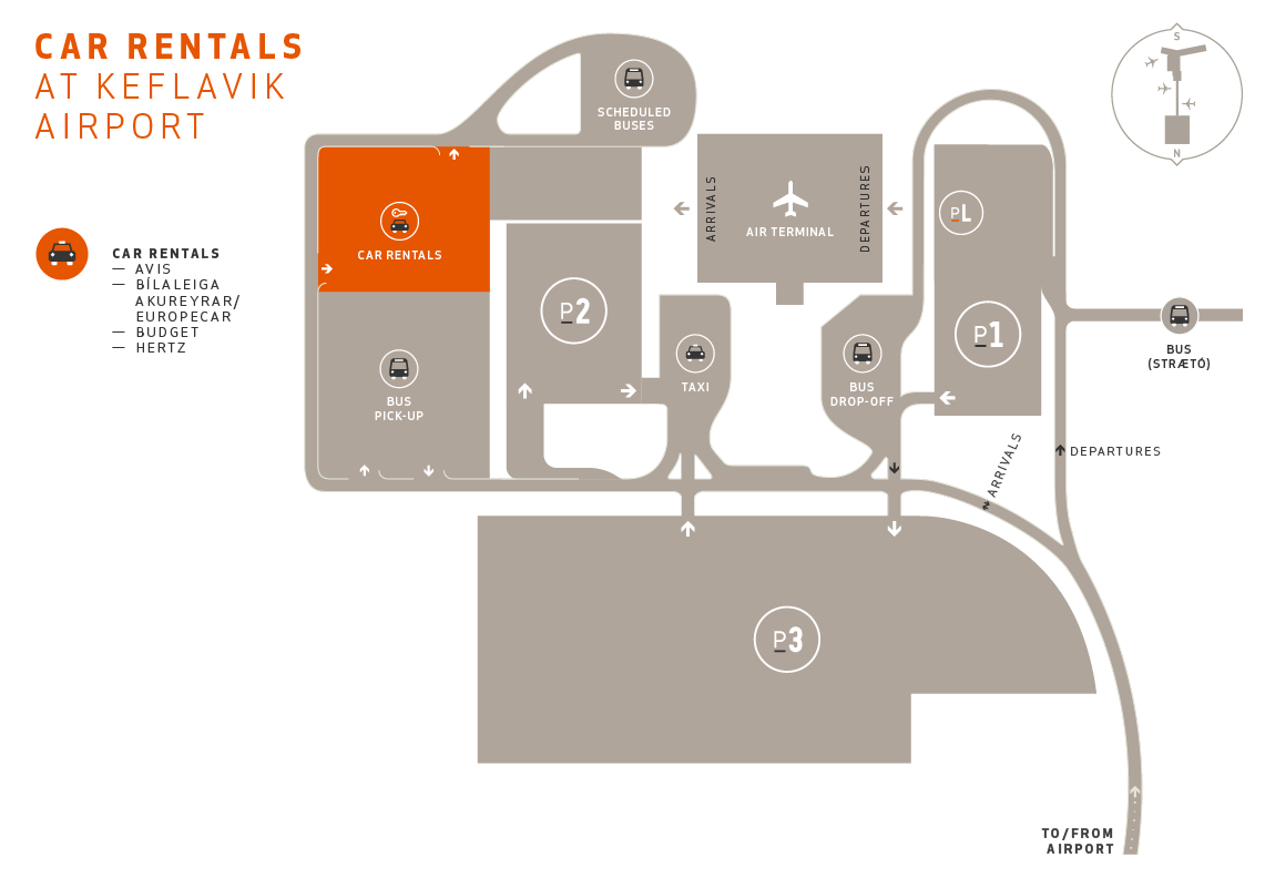KEF Airport map including car rental pick up point like Avis, Europacar, Budget and Hertz