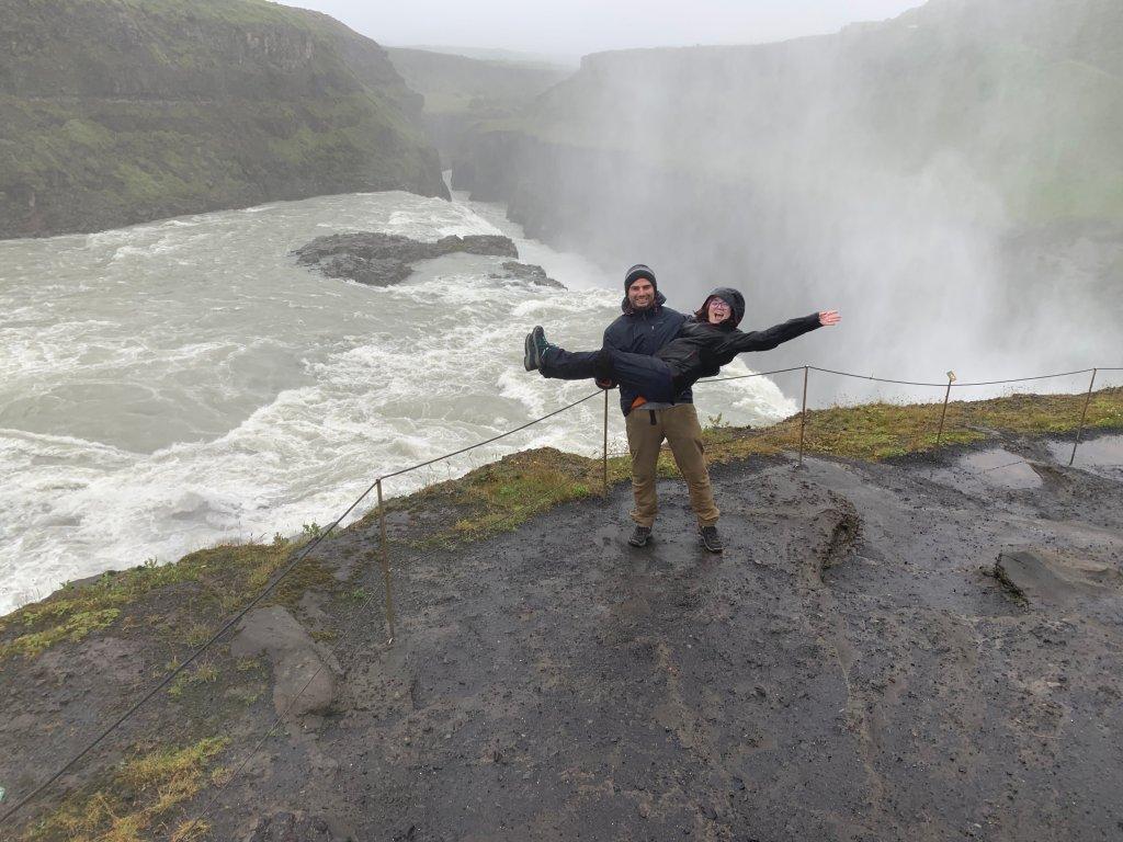 Gullfoss waterfall in a rainy day